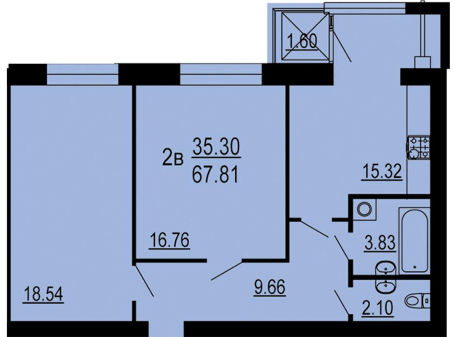 Планування 2-кімнатної квартири в ЖК Сімейний Comfort 67.81 м², фото 198740