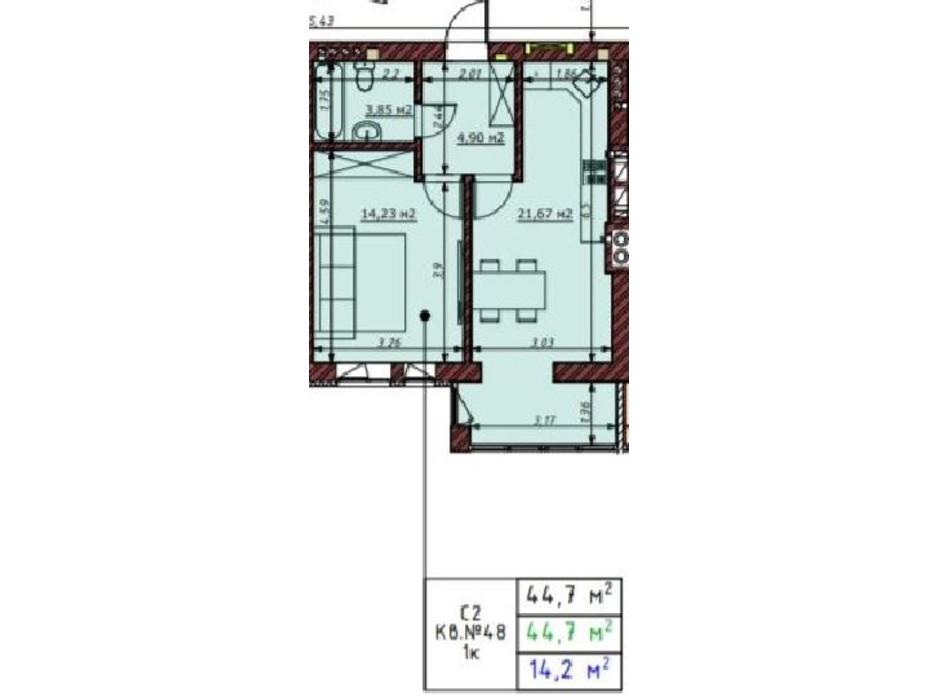 Планування 1-кімнатної квартири в ЖК Гостомельські Липки 5 44.7 м², фото 199878