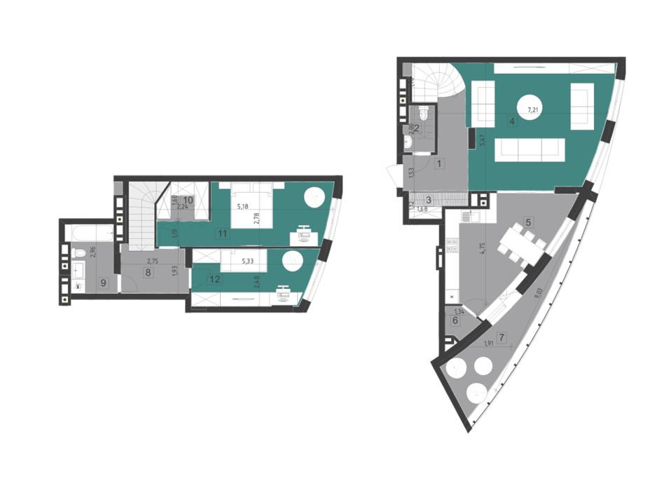 Планування багаторівневої квартири в ЖК Парус City 116.7 м², фото 200314