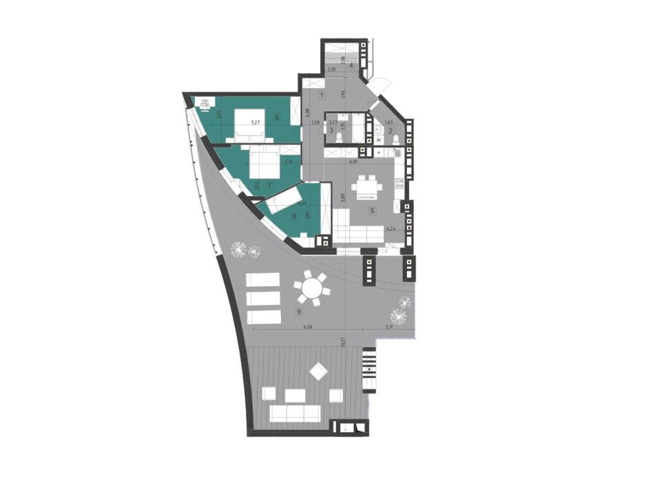 Планировка 3-комнатной квартиры в ЖК Парус City 117.3 м², фото 200321