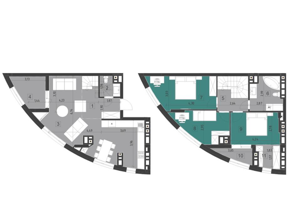 Планировка многоуровневой квартиры в ЖК Парус City 111.2 м², фото 200332
