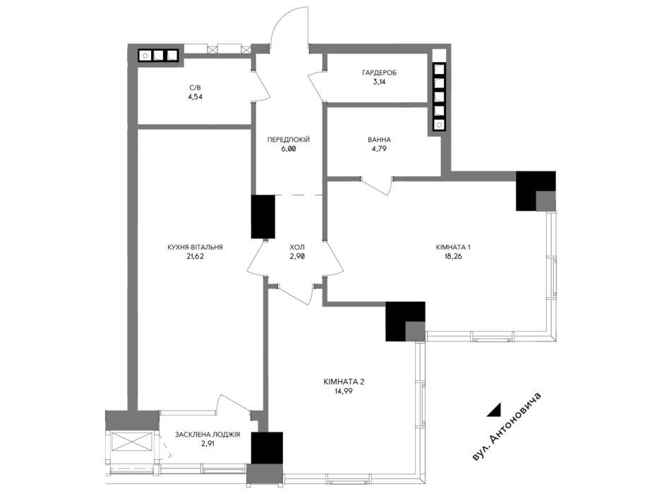 Планировка 2-комнатной квартиры в ЖК A136 highlight tower 80.24 м², фото 200457