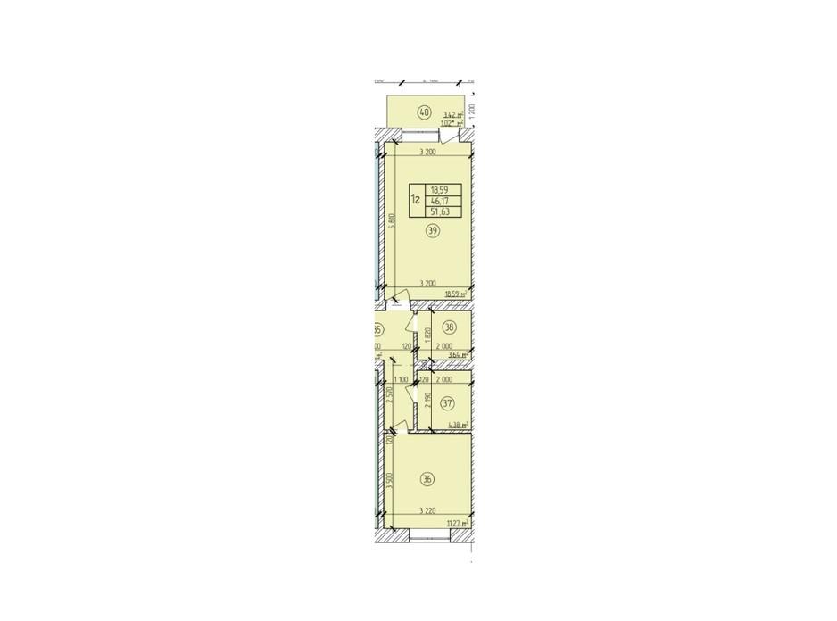 Планування 1-кімнатної квартири в ЖК по вул. Мічуріна 51.63 м², фото 200491