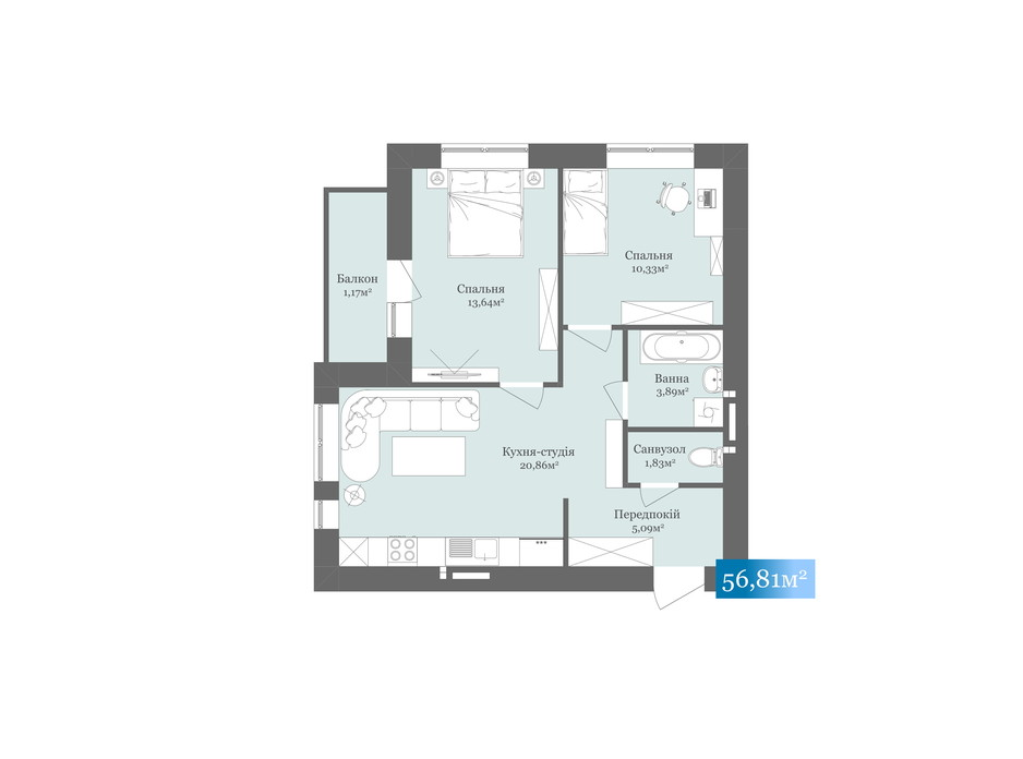 Планировка 2-комнатной квартиры в ЖК West Towers 56.81 м², фото 200497