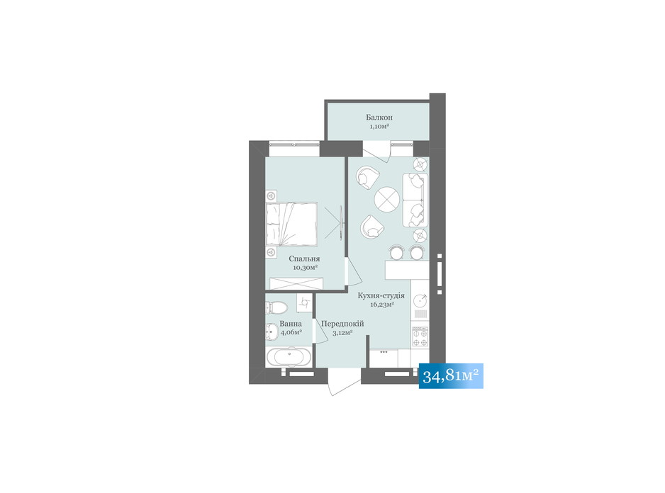 Планировка 1-комнатной квартиры в ЖК West Towers 34.81 м², фото 200501