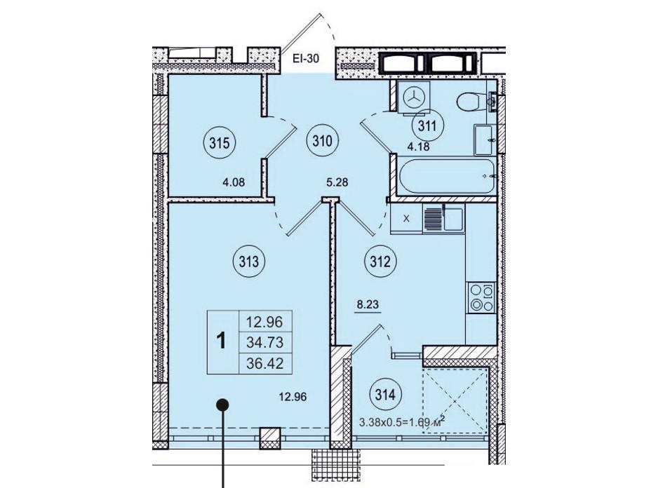 Планировка 1-комнатной квартиры в ЖК SmartCity (СмартСити) 36.42 м², фото 200508