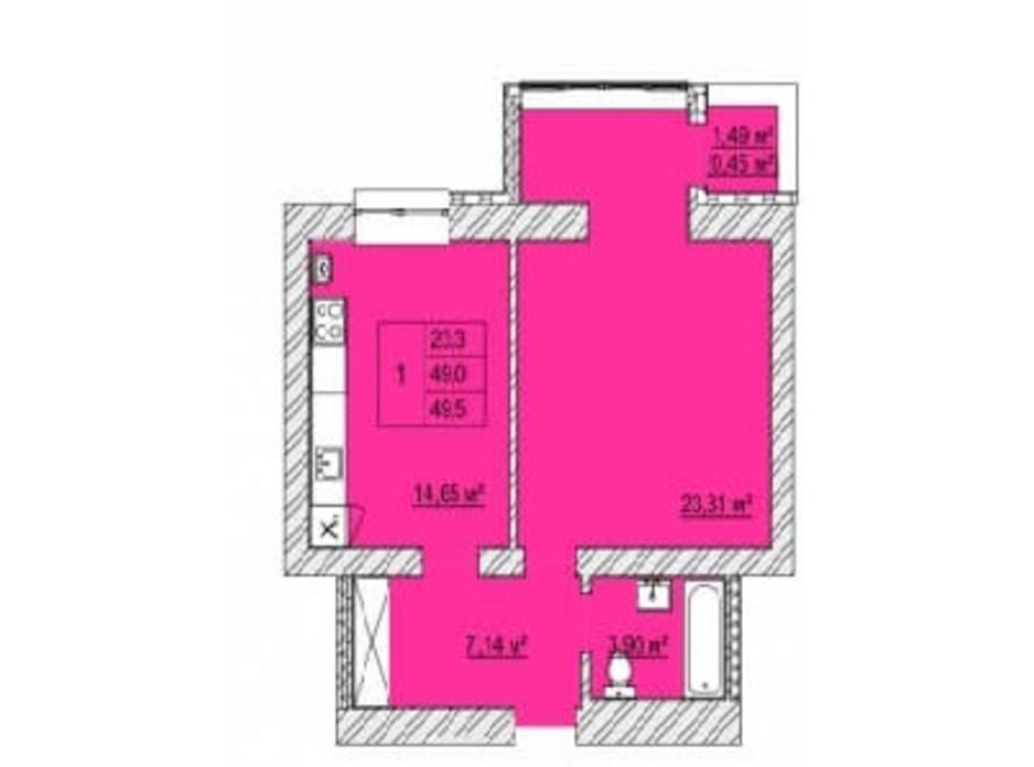 Планировка 1-комнатной квартиры в ЖК Caramel Residence 49.5 м², фото 200825
