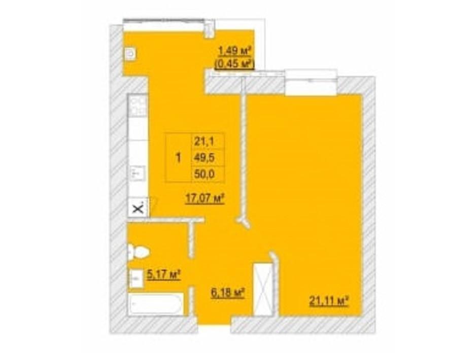Планування 1-кімнатної квартири в ЖК Caramel Residence 50 м², фото 200826