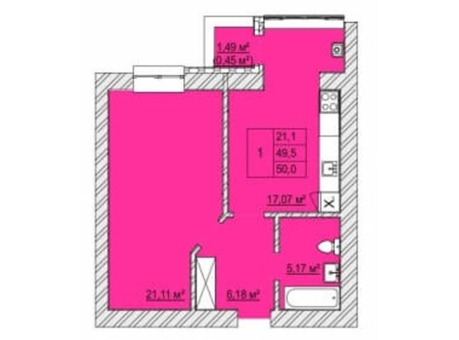 Планировка 1-комнатной квартиры в ЖК Caramel Residence 50 м², фото 200827