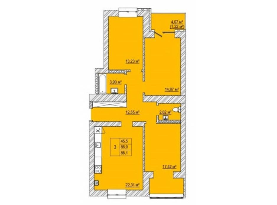 Планировка 3-комнатной квартиры в ЖК Caramel Residence 88.1 м², фото 200830