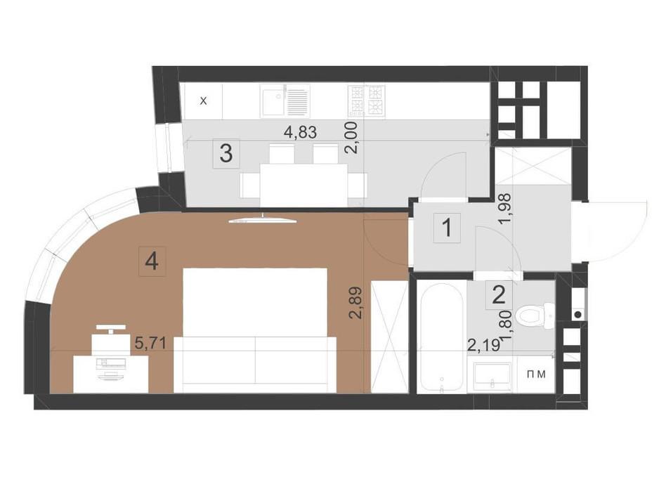 Планировка 1-комнатной квартиры в ЖК Парус Премиум 33.2 м², фото 200961