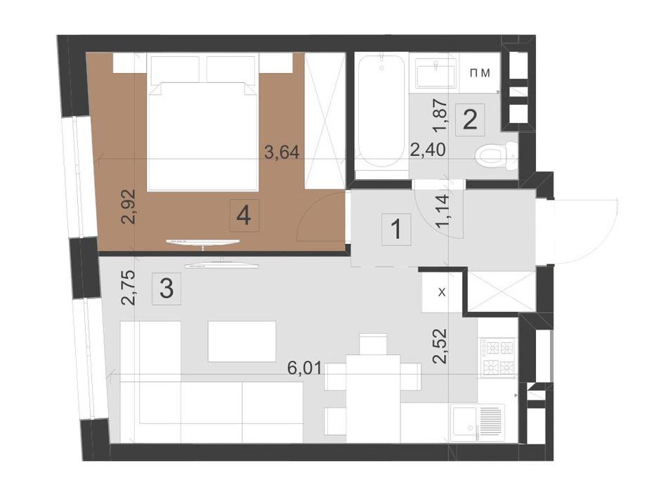 Планування 1-кімнатної квартири в ЖК Парус Преміум 34.6 м², фото 201000