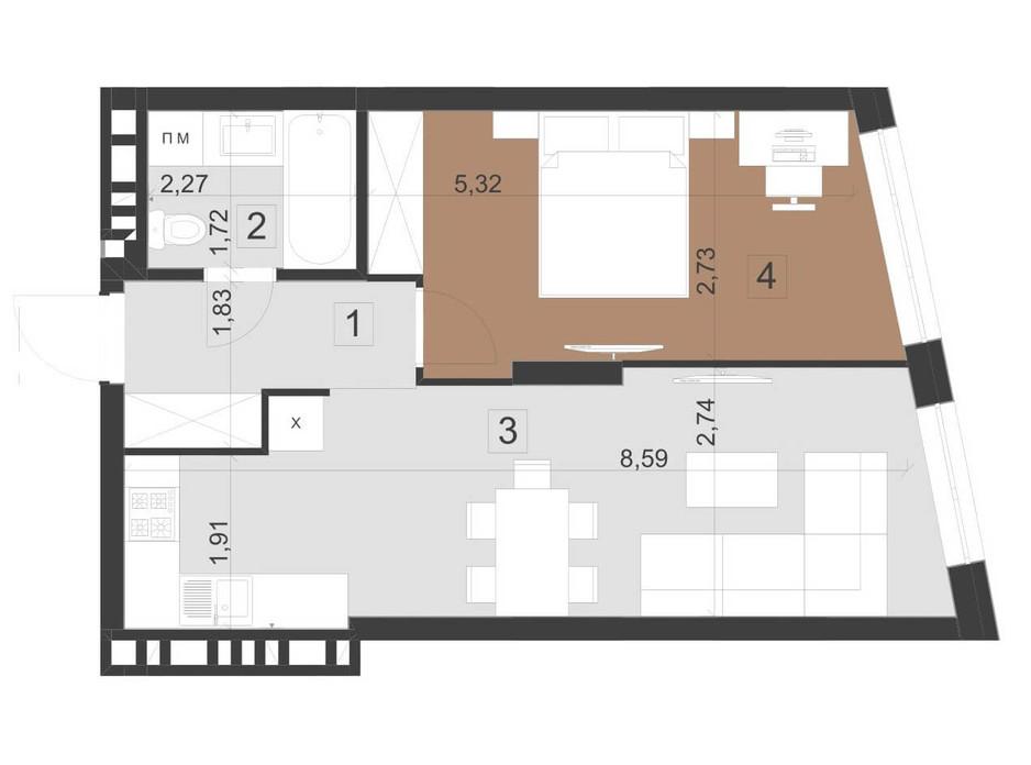 Планування 1-кімнатної квартири в ЖК Парус Преміум 45.8 м², фото 201119