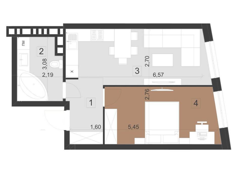 Планировка 1-комнатной квартиры в ЖК Парус Премиум 44.5 м², фото 201120