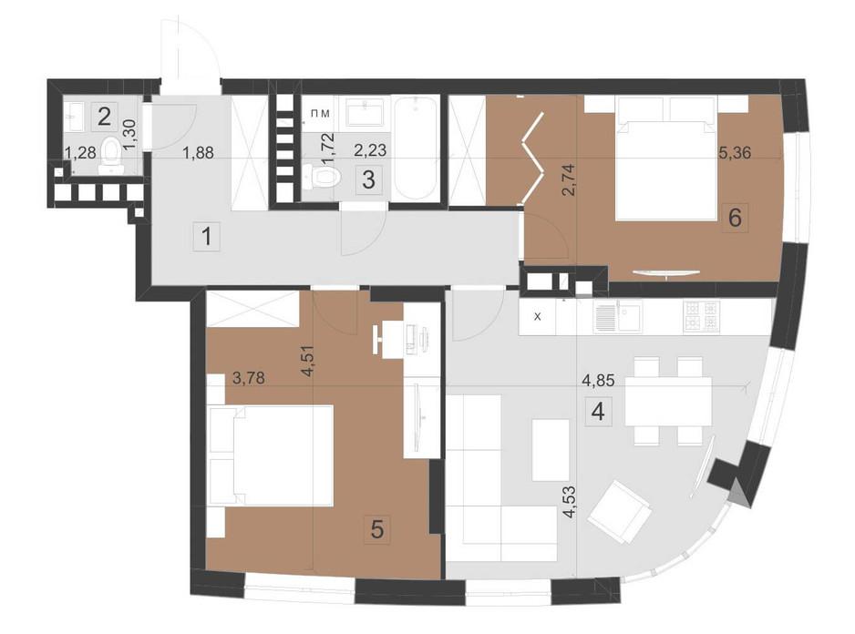 Планування 2-кімнатної квартири в ЖК Парус Преміум 68.8 м², фото 201121