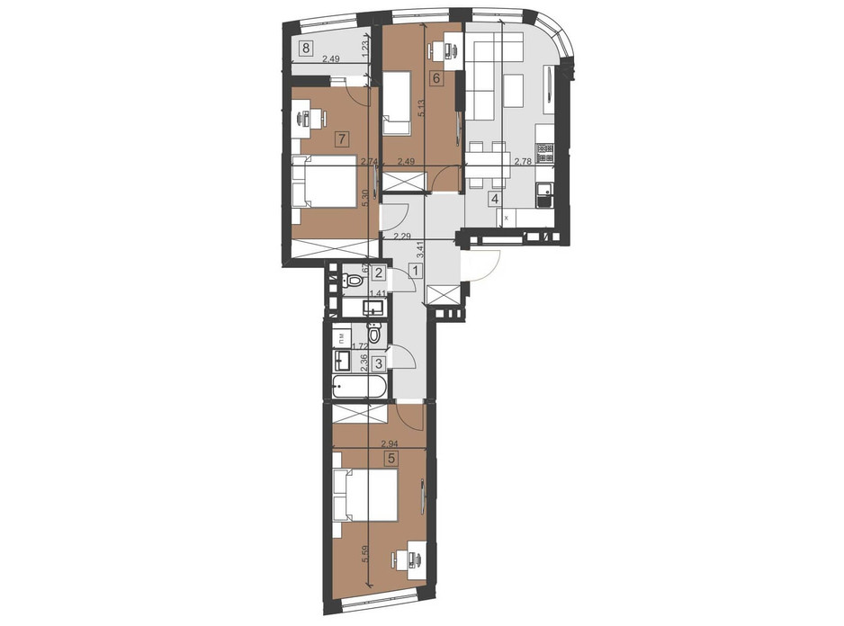 Планування 3-кімнатної квартири в ЖК Парус Преміум 82.8 м², фото 201125