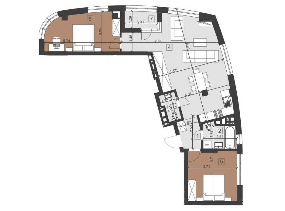 Планування 2-кімнатної квартири в ЖК Парус Преміум 81.9 м², фото 201130