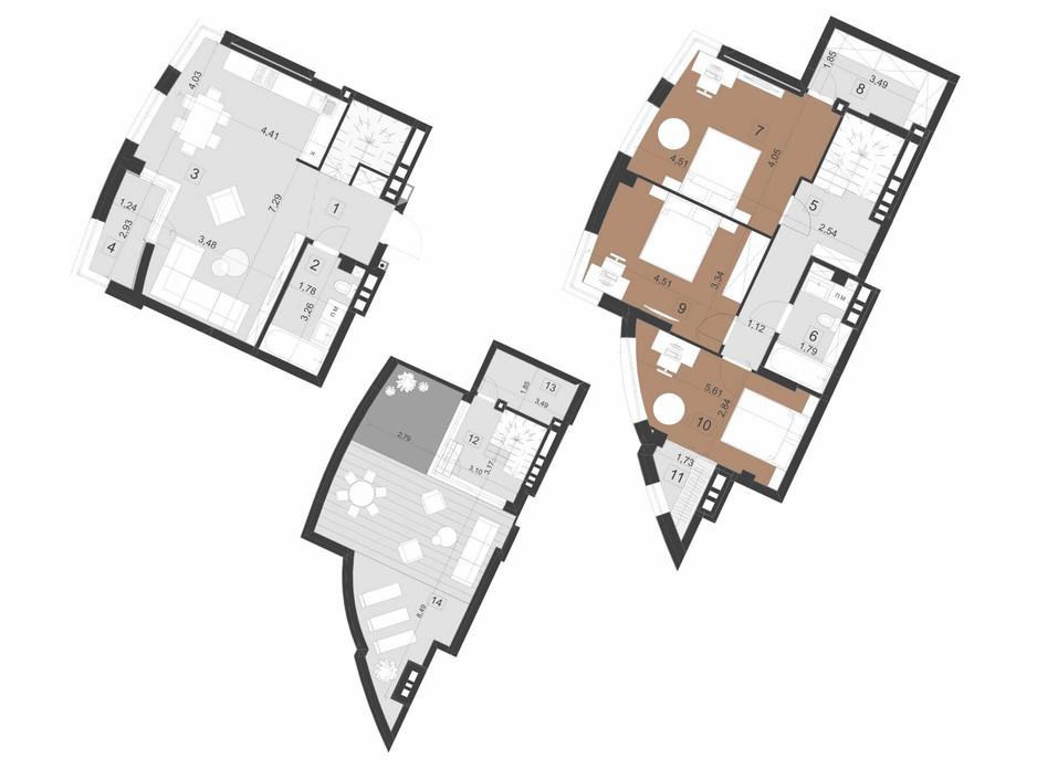 Планировка многоуровневой квартиры в ЖК Парус Премиум 145.3 м², фото 201288