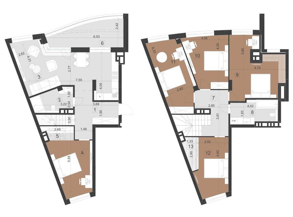 Планировка многоуровневой квартиры в ЖК Парус Премиум 153.6 м², фото 201322
