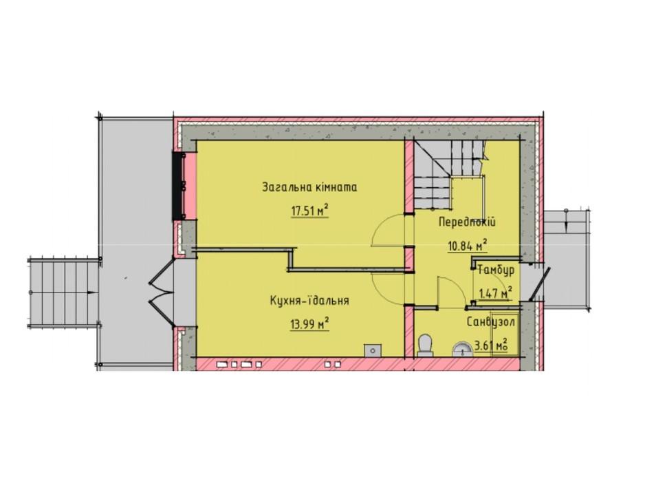 Планировка многоуровневой квартиры в Таунхаусы на Малеванке 98 м², фото 201436