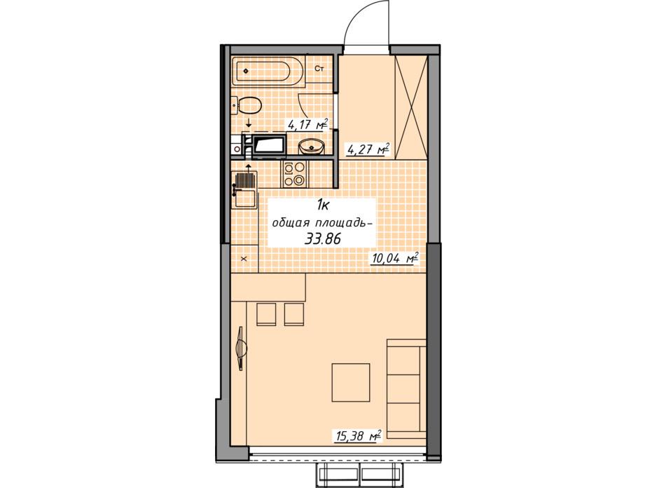 Планировка 1-комнатной квартиры в ЖК Атмосфера 33.86 м², фото 201875