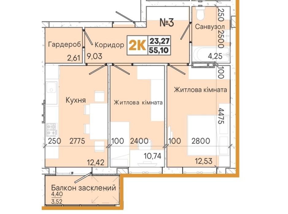 Планування 2-кімнатної квартири в ЖК Акварель 7 54.67 м², фото 201955