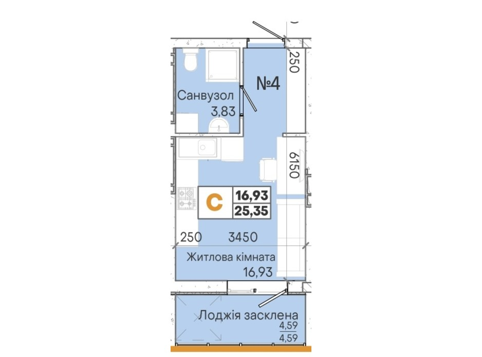 Планування смарт квартири в ЖК Акварель 7 25.18 м², фото 202019