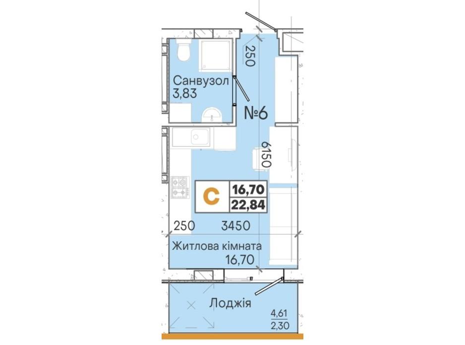 Планування смарт квартири в ЖК Акварель 7 22.74 м², фото 202022