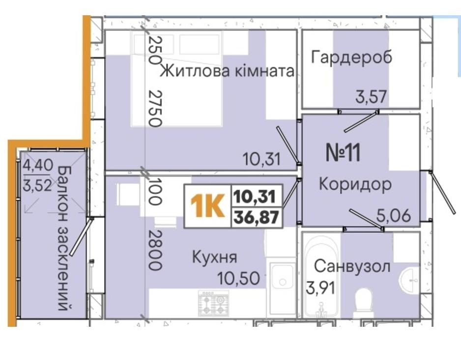 Планування 1-кімнатної квартири в ЖК Акварель 7 36.87 м², фото 202028