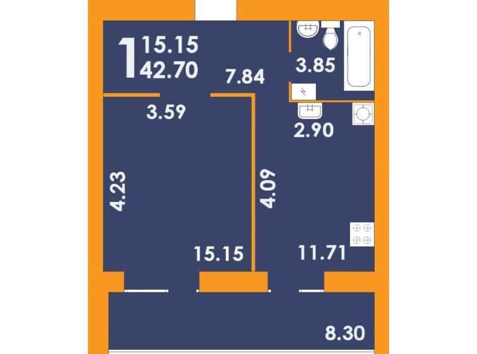 Планування 1-кімнатної квартири в ЖК Park Residence 42.7 м², фото 202139