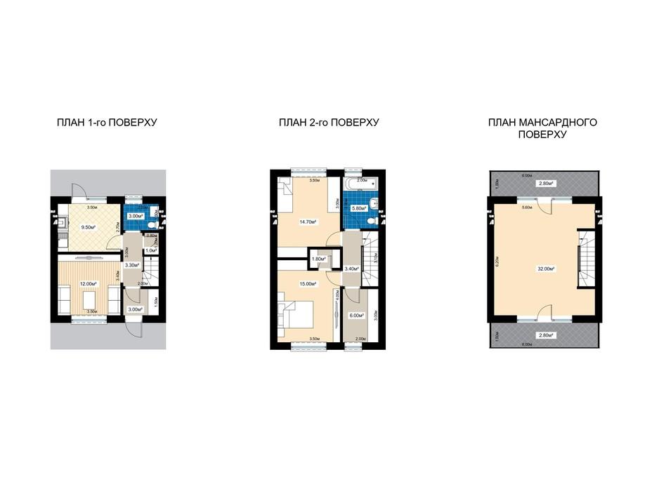 Планування 4-кімнатної квартири в Таунхаус Family town 124.2 м², фото 202520