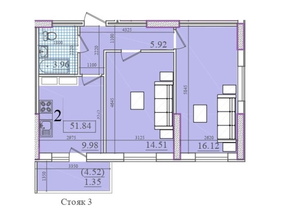 Планування 2-кімнатної квартири в ЖК Акварель 2 51.84 м², фото 202565