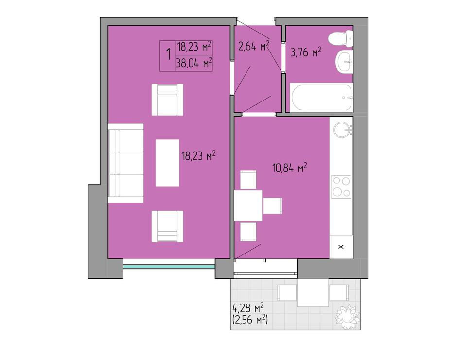 Планування 1-кімнатної квартири в ЖК Акварель 2 38.04 м², фото 202568