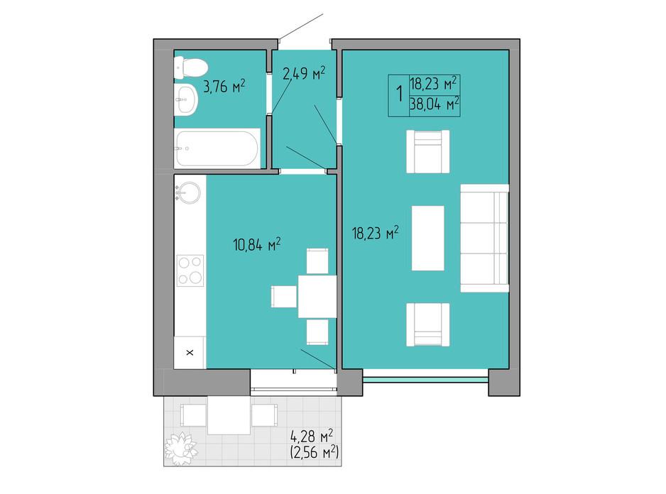 Планування 1-кімнатної квартири в ЖК Акварель 2 38.04 м², фото 202569