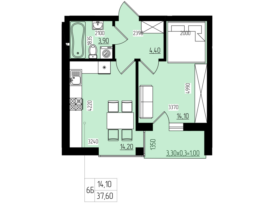 Планировка 1-комнатной квартиры в ЖК White and Wood 37.6 м², фото 202587