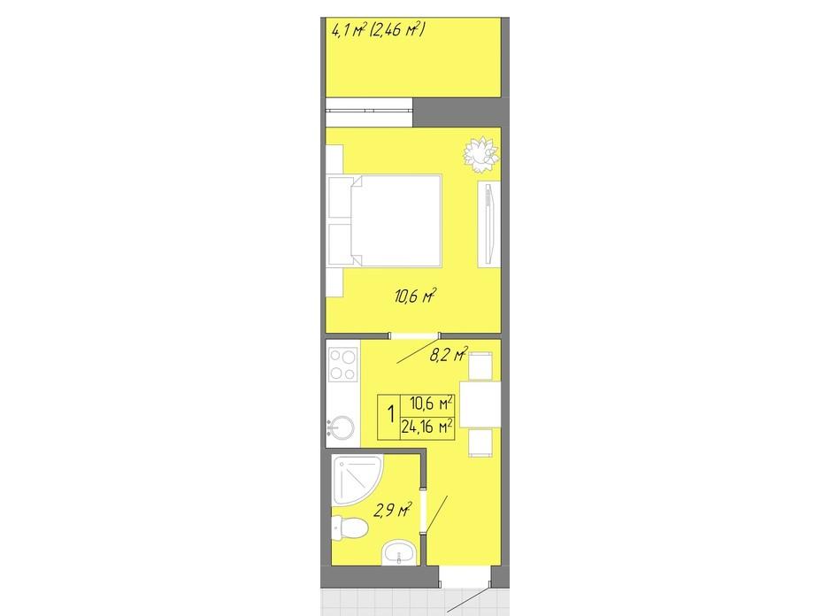 Планування 1-кімнатної квартири в ЖК Акварель 2 24.16 м², фото 202608