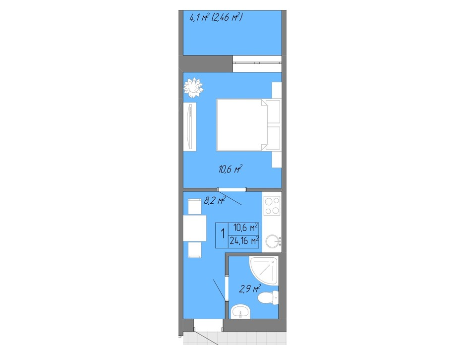 Планування 1-кімнатної квартири в ЖК Акварель 2 24.16 м², фото 202609