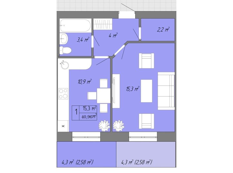Планування 1-кімнатної квартири в ЖК Акварель 2 40.96 м², фото 202610