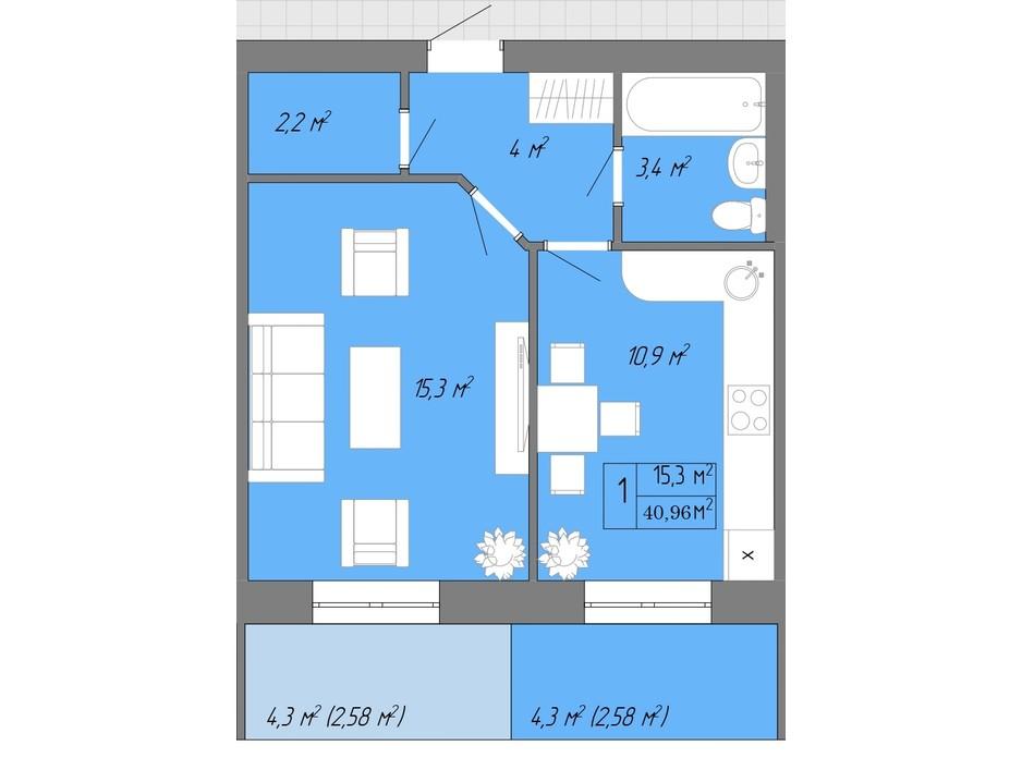 Планування 1-кімнатної квартири в ЖК Акварель 2 40.96 м², фото 202615