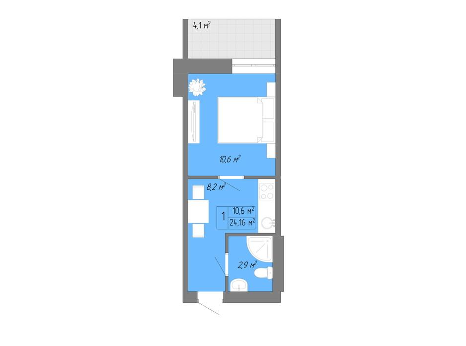 Планування 1-кімнатної квартири в ЖК Акварель 2 24.16 м², фото 202617