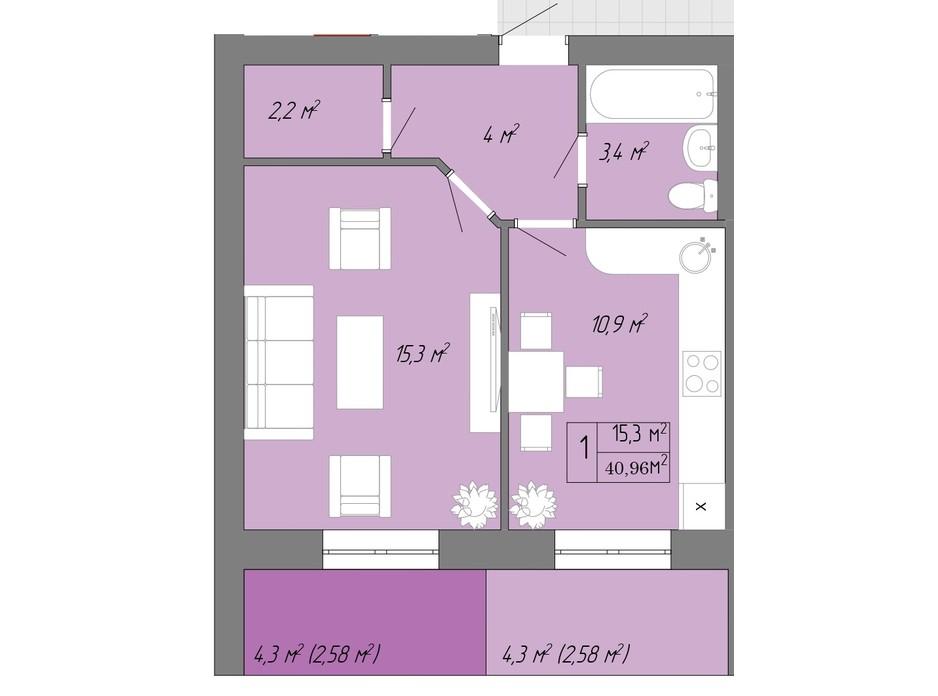 Планування 1-кімнатної квартири в ЖК Акварель 2 40.96 м², фото 202618