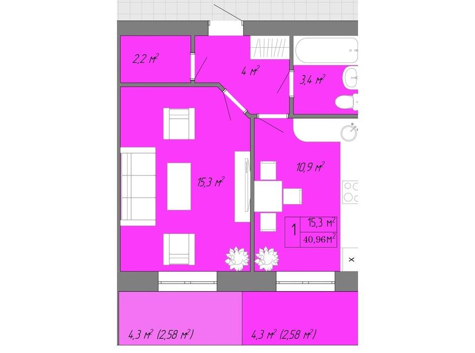Планування 1-кімнатної квартири в ЖК Акварель 2 40.96 м², фото 202619