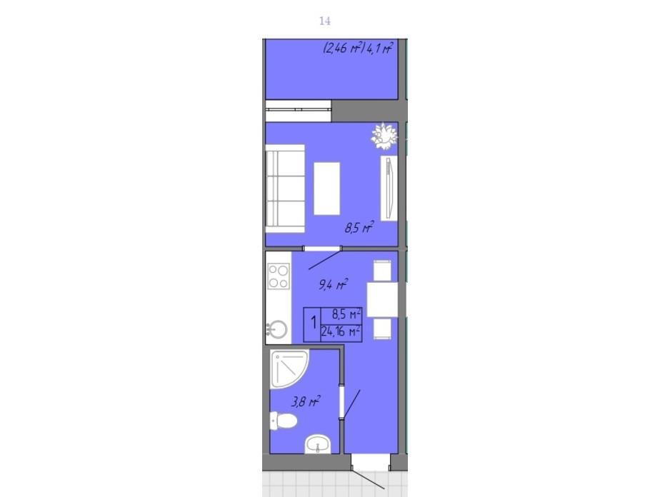 Планування 1-кімнатної квартири в ЖК Акварель 2 24.16 м², фото 202702
