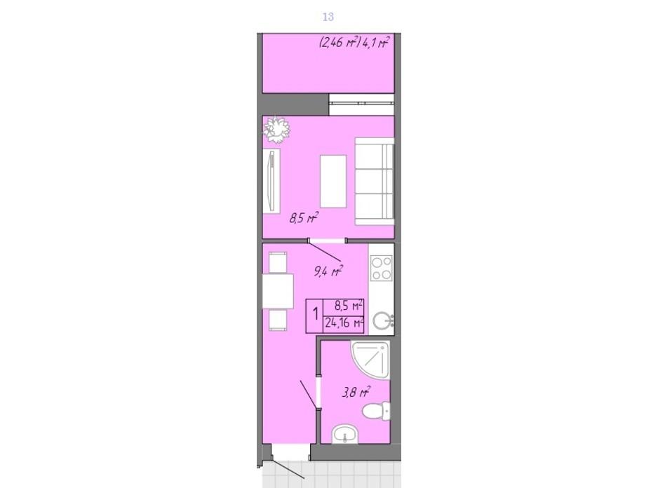 Планування 1-кімнатної квартири в ЖК Акварель 2 24.16 м², фото 202703
