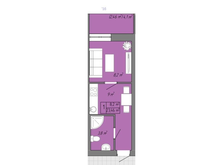 Планування 1-кімнатної квартири в ЖК Акварель 2 23.46 м², фото 202705