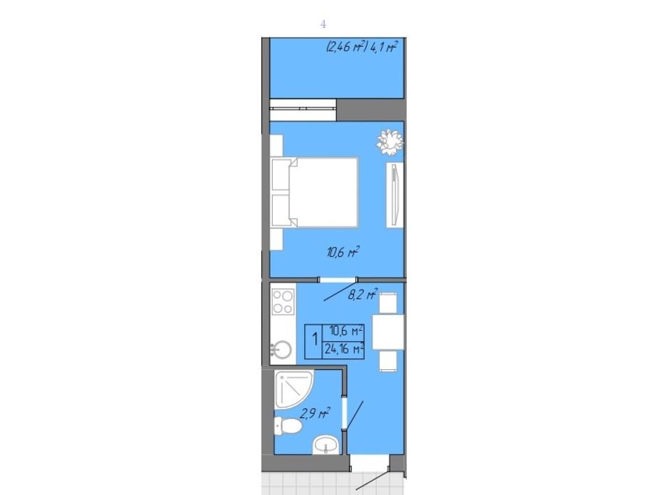Планування 1-кімнатної квартири в ЖК Акварель 2 24.16 м², фото 202706