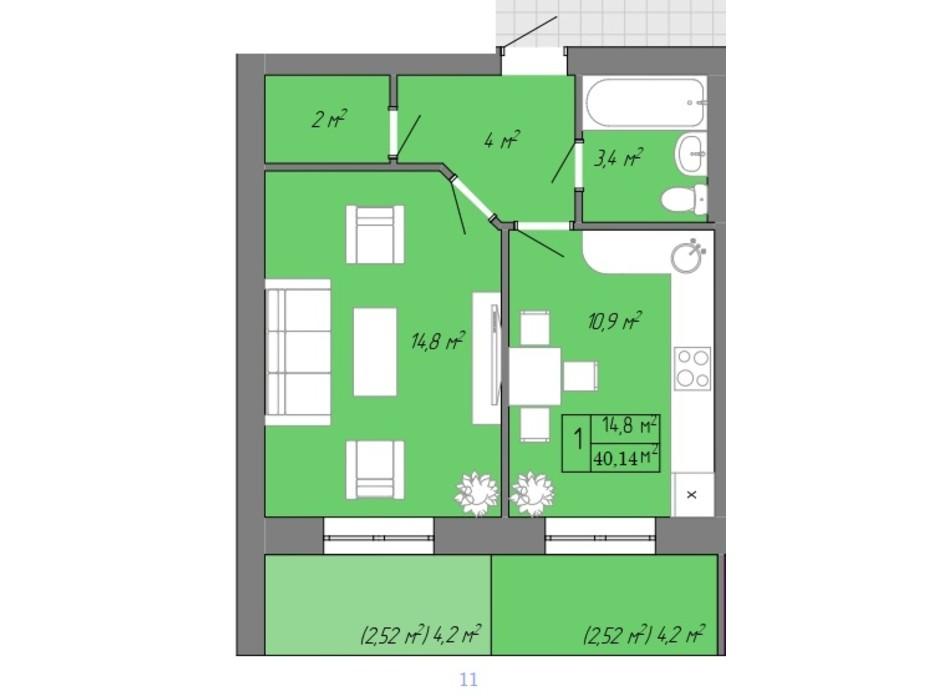 Планування 1-кімнатної квартири в ЖК Акварель 2 40.14 м², фото 202707