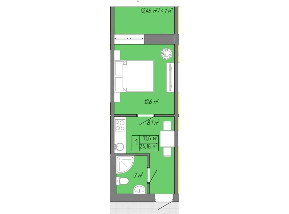 Планування 1-кімнатної квартири в ЖК Акварель 2 24.16 м², фото 202709