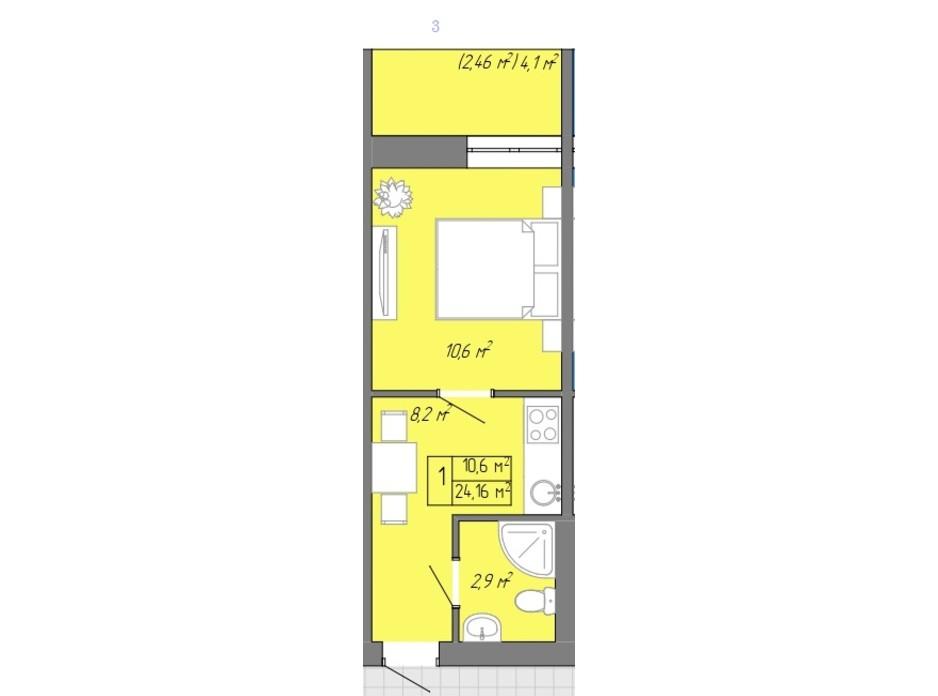 Планування 1-кімнатної квартири в ЖК Акварель 2 24.16 м², фото 202711