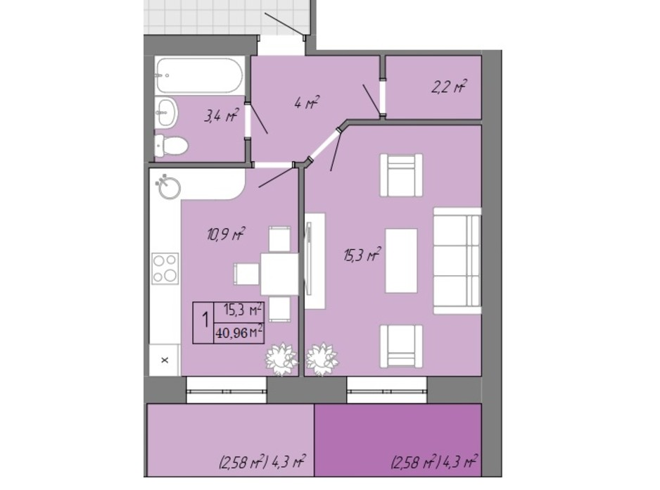 Планування 1-кімнатної квартири в ЖК Акварель 2 40.96 м², фото 202712